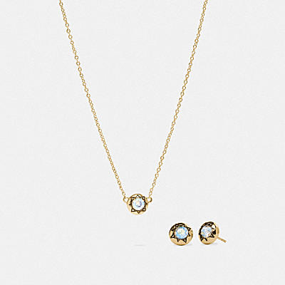 DECO STUD EARRINGS AND NECKLACE SET