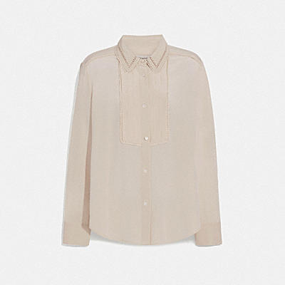 PLEATED BIB SHIRT WITH NECK TIE