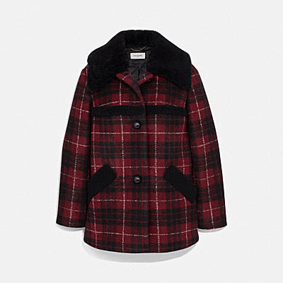 PLAID WOOL COAT WITH SHEARLING TRIM