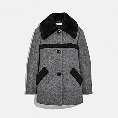 WOOL COAT WITH SHEARLING TRIM