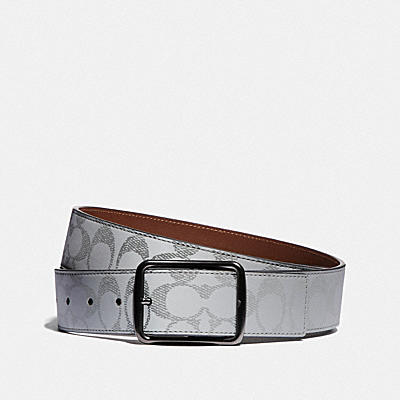 CUT-TO-SIZE REVERSIBLE BELT IN REFLECTIVE SIGNATURE CANVAS, 38MM