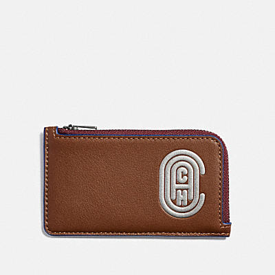 L-ZIP CARD CASE WITH REFLECTIVE COACH PATCH