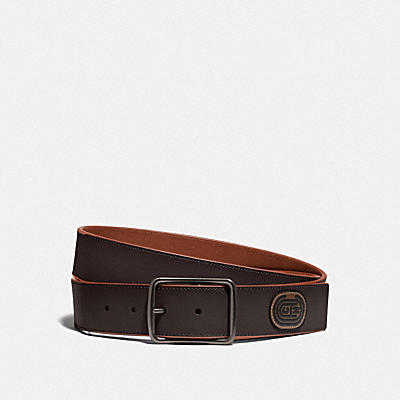 CUT-TO-SIZE REVERSIBLE BELT WITH COACH PATCH, 38MM