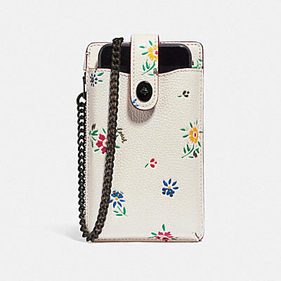 TURNLOCK CHAIN PHONE CROSSBODY WITH WILDFLOWER PRINT