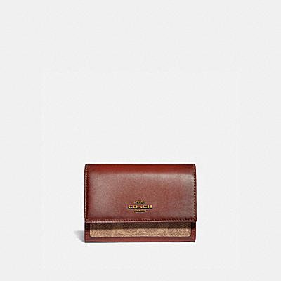MEDIUM FLAP WALLET IN COLORBLOCK SIGNATURE CANVAS