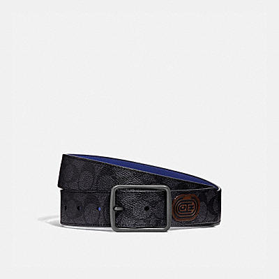 CUT-TO-SIZE REVERSIBLE BELT IN SIGNATURE CANVAS WITH COACH PATCH, 38MM