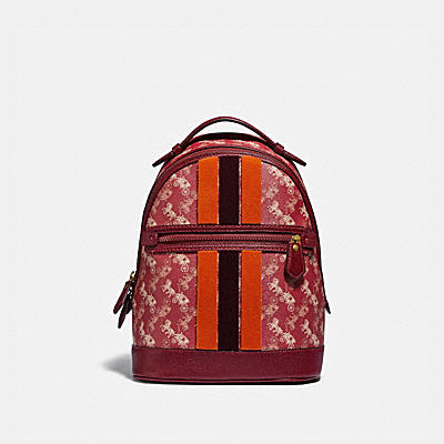 LUNAR NEW YEAR BARROW BACKPACK WITH HORSE AND CARRIAGE PRINT AND VARSITY STRIPE
