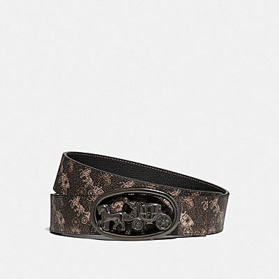 HORSE AND CARRIAGE BUCKLE REVERSIBLE BELT WITH HORSE AND CARRIAGE PRINT, 38MM
