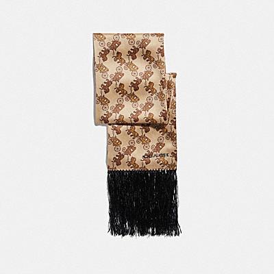 ホース アンド キャリッジ プリント シルク ワイド スキニー スカーフ