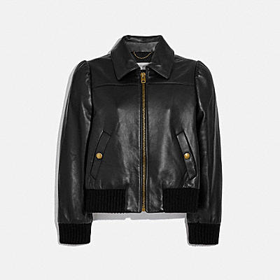 LEATHER TAILORED BOMBER JACKET