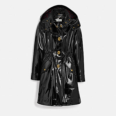 RAINCOAT WITH HORSE AND CARRIAGE PRINT LINING