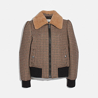 CHECK BOMBER JACKET WITH REMOVABLE SHEARLING COLLAR