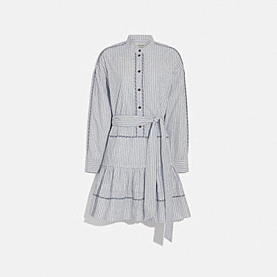 STRIPE SHIRT DRESS WITH BELT