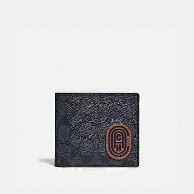 3-IN-1 WALLET IN SIGNATURE CANVAS WITH REFLECTIVE COACH PATCH