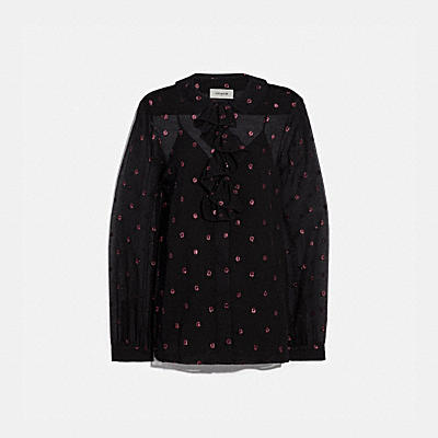 LUREX DOT RUFFLE NECK BLOUSE