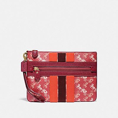 LUNAR NEW YEAR LARGE FRONT ZIP WRISTLET WITH HORSE AND CARRIAGE PRINT AND VARSITY STRIPE