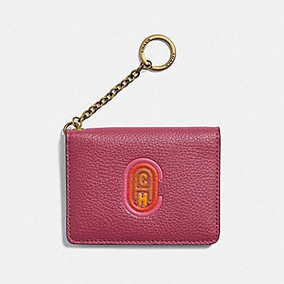 KEY RING CARD CASE WITH COACH PATCH