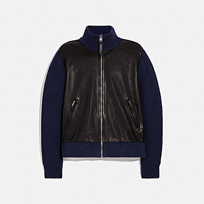 ZIP LEATHER SWEATER JACKET