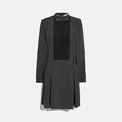 DOT PLEATED BIB DRESS