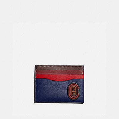 CARD CASE IN COLORBLOCK WITH COACH PATCH