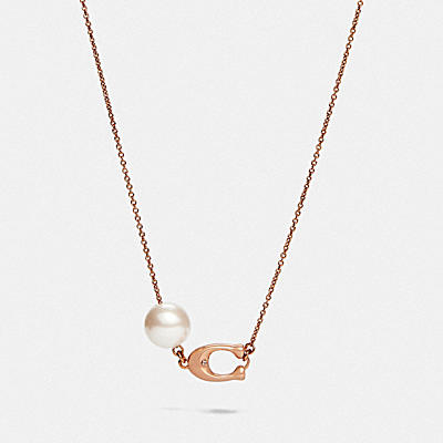 SCULPTED SIGNATURE PEARL NECKLACE