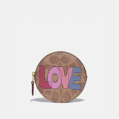 ROUND COIN CASE IN SIGNATURE CANVAS WITH LOVE PRINT