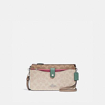 コーチ COACHの財布バッグ&ポシェット |ノア ポップアップ メッセンジャー ブロックド シグネチャー キャンバス