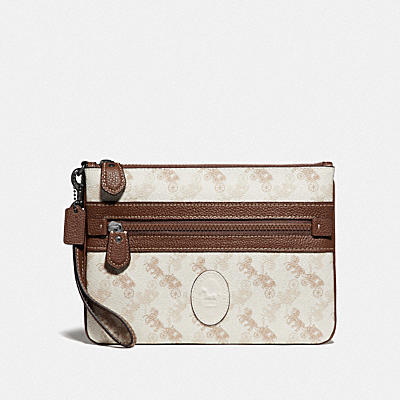 LARGE FRONT ZIP WRISTLET WITH HORSE AND CARRIAGE PRINT AND ARCHIVE PATCH