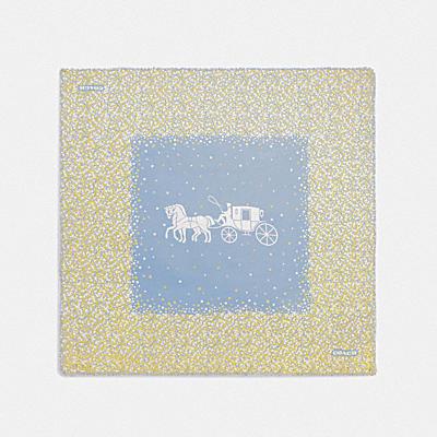 HORSE AND CARRIAGE 圖案茶香玫瑰印花 OVERSIZE 方巾