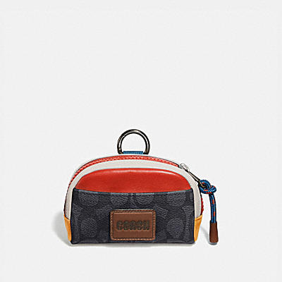 PACER COIN POUCH IN COLORBLOCK SIGNATURE CANVAS WITH COACH PATCH