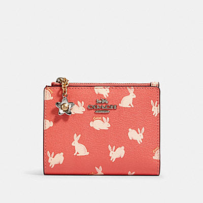SNAP CARD CASE WITH BUNNY SCRIPT PRINT