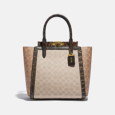 TROUPE TOTE IN SIGNATURE CANVAS WITH SNAKESKIN DETAIL