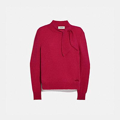 호스 앤 캐리지 타이 넥 스웨터