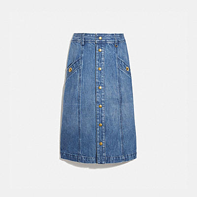DENIM SNAP FRONT SKIRT