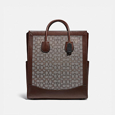 TALL TOTE IN SIGNATURE JACQUARD