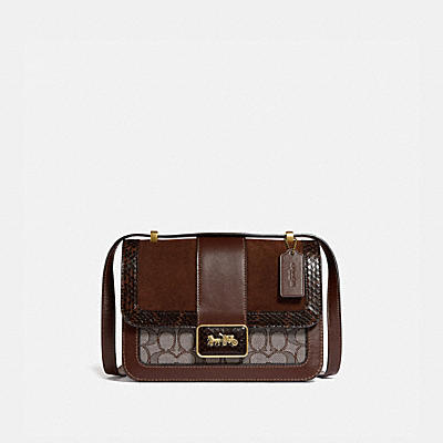 ALIE SHOULDER BAG IN SIGNATURE JACQUARD WITH SNAKESKIN DETAIL