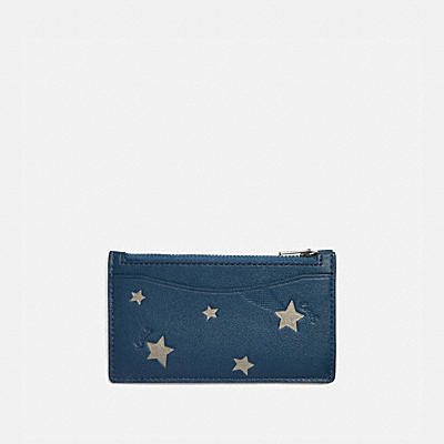 ZIP CARD CASE WITH SHOOTING STAR PRINT