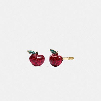 BOXED GLITTER APPLE STUD EARRINGS