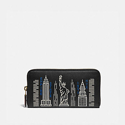 コーチ COACHの財布&革小物 |アコーディオン ジップ ウォレット スターダスト シティ スカイライン エンブロイダリー