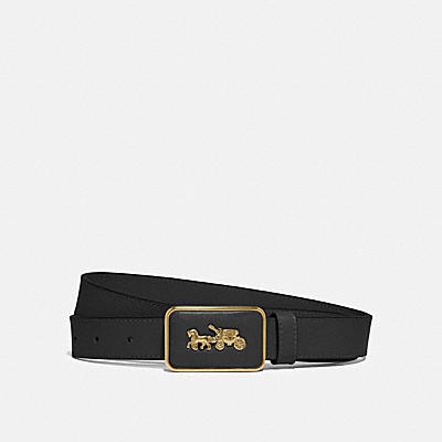 HORSE AND CARRIAGE PLAQUE BUCKLE BELT, 25MM