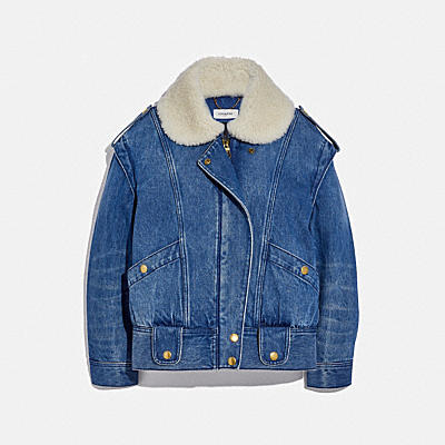 WASHED DENIM JACKET WITH SHEARLING COLLAR