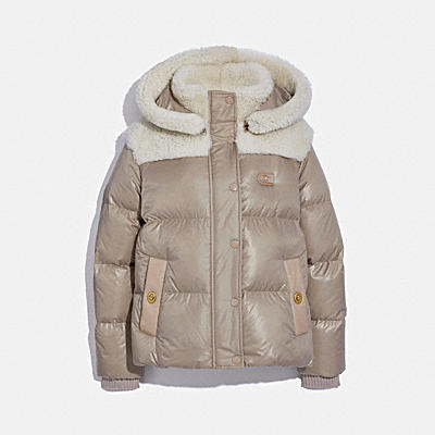 SHEARLING MIX PUFFER JACKET