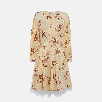 印花天鵝絨燒花面料迷你連身裙