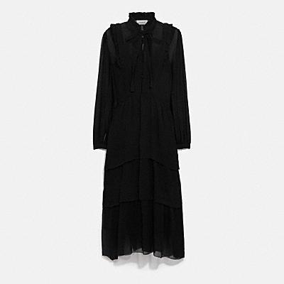 縐紗波浪荷葉連身裙
