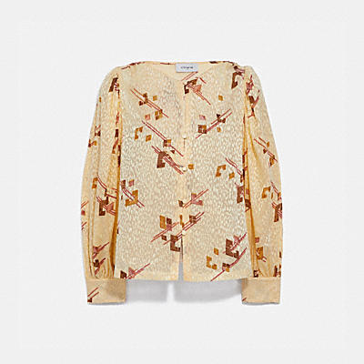 PRINTED DEVORE GATHERED SHOULDER BLOUSE