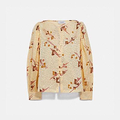 印花天鵝絨燒花面料燈籠袖女士襯衫