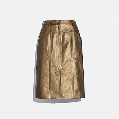 金屬風皮革半身裙