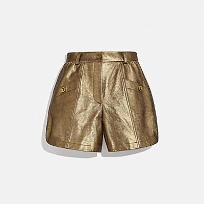 金屬風皮革短褲