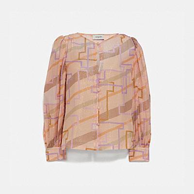 金屬鋁線燈籠袖女士襯衫