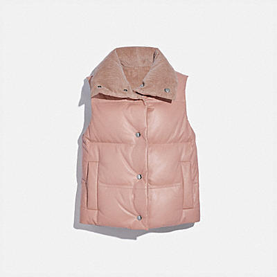 REVERSIBLE LEATHER PUFFER VEST